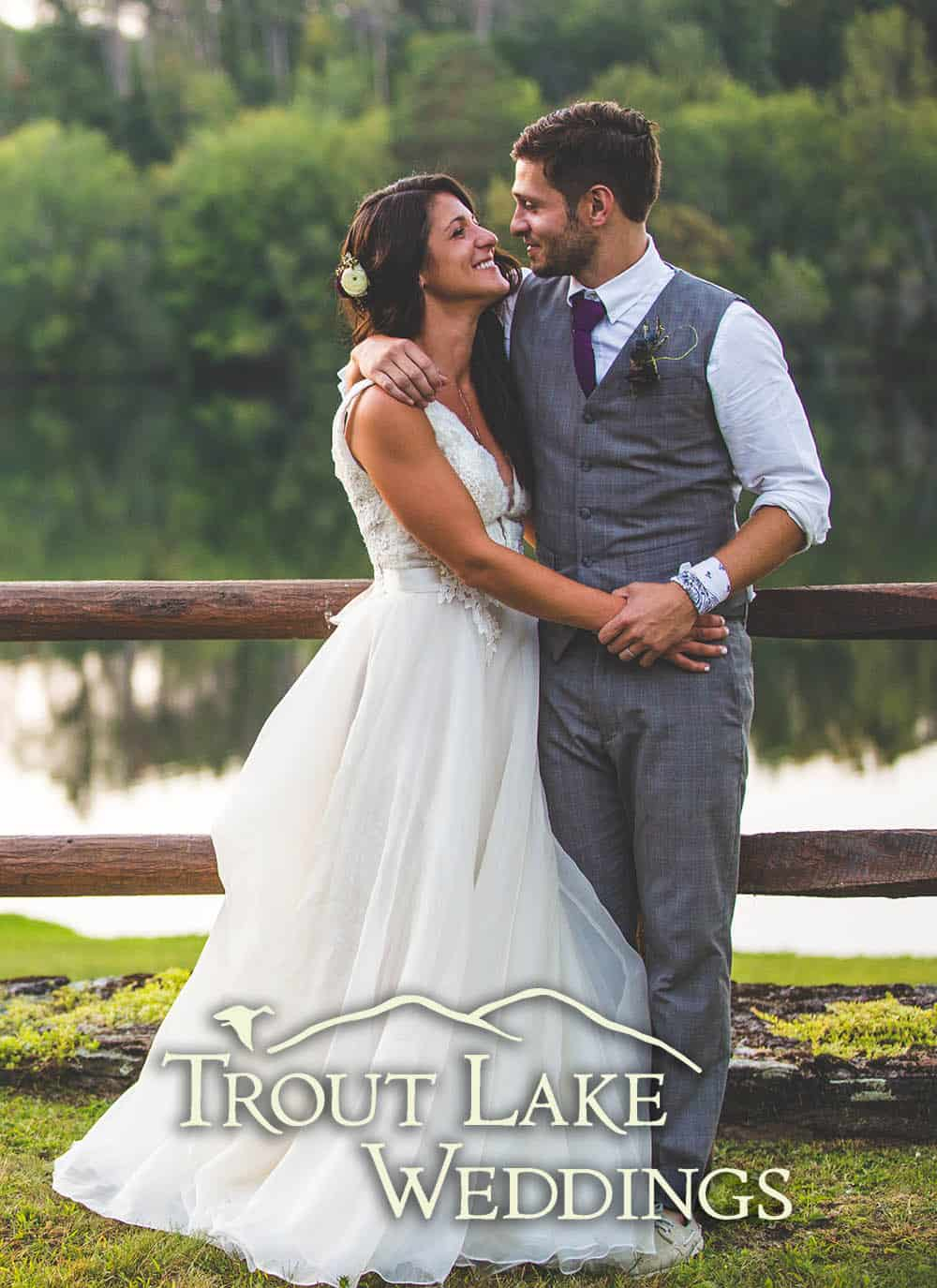 bride and groom at trout lake